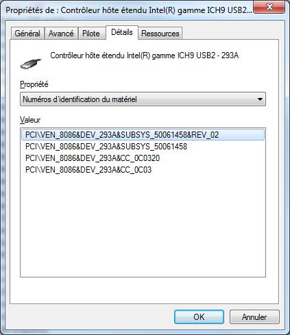 contrôleur hôte étendu intel(r) gamme ich9 usb2 - 293a